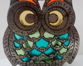 Vintage Retro Stained Glass Owl Napkin Holder