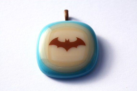 Batman Pendant - Fused Glass Jewelry