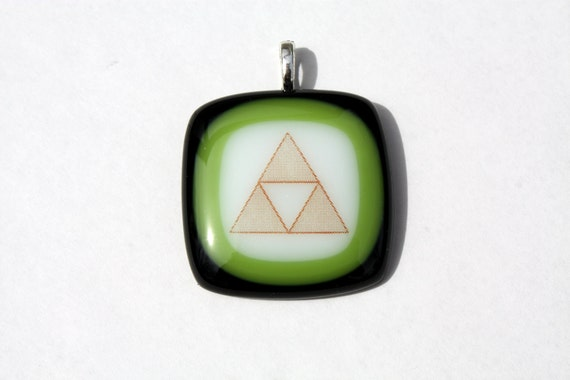 Zelda Triforce Pendant in Black and Lime