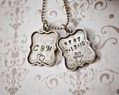 Story of Us - Hand Stamped Necklace - Tibetan Silver Anniversary, Kids Name and Birthday Pendants - Family Jewelry - Mommy Necklace