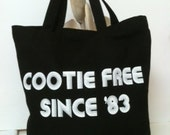 Nerdy Vintage Geeky Funny 80's Canvas Tote Bag Cootie Free Since 83 Black
