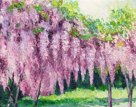 """Wisteria, Garden Landscape Oil Painting Flower with Textured Palette Knife on Small Canvas, 8x10"""""""