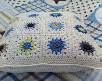 Crochet Cushion - Blue, white, Lemon, Green, Stone, Cosy Pillow - pretty things - Made to order by CrocetObjet