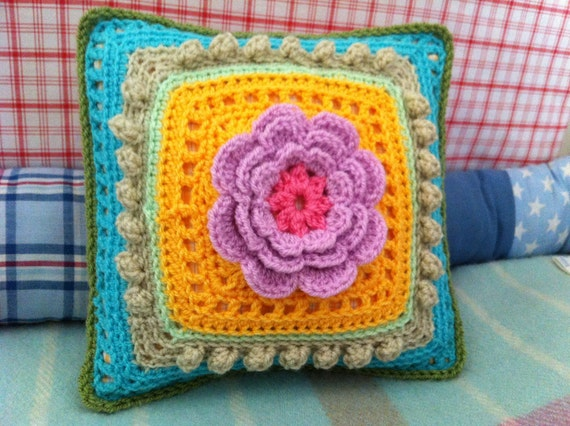 Crochet Flower Cushion, Pink, Yellow, turquize, One Available, Ready To Ship - Gift Under 100