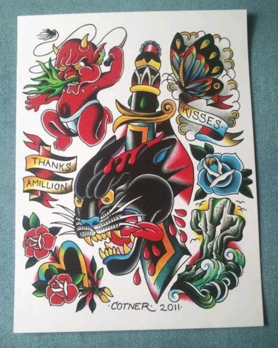 Traditional americana tattoo flash hot stuff by for Traditional americana tattoos