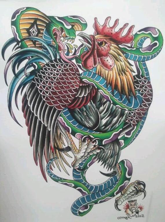 Traditional americana tattoo art stunning detailed cobra vs for Traditional americana tattoos