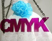 CMYK violet acrylic lasercut necklace