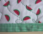 Quilted and Reversible Placemats - Watermelons and Ginham