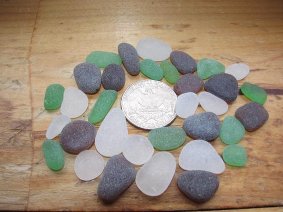 varity pack containing 30 pieces of white, green and brown genuine sea glass  beach glass