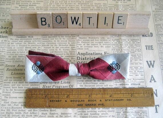 Men's Bowtie - Burgundy & Cream Pattern - Clip On - Vintage 50's Tie -  Ormond Tie