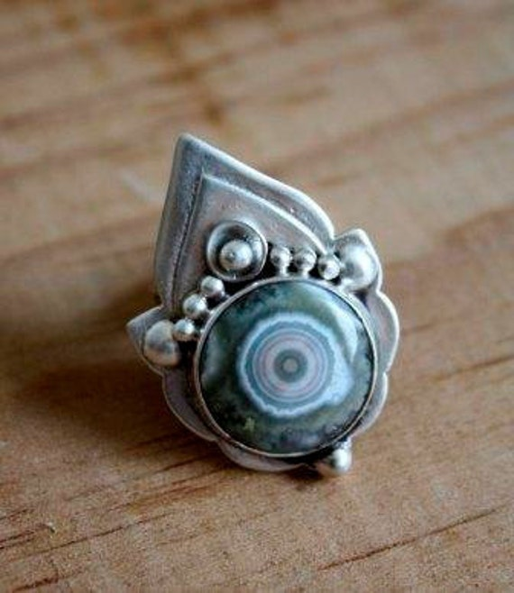 Adjustable Silver ocean jasper ring, eye ring, indian style, slightly oxidized and modern, Mahila