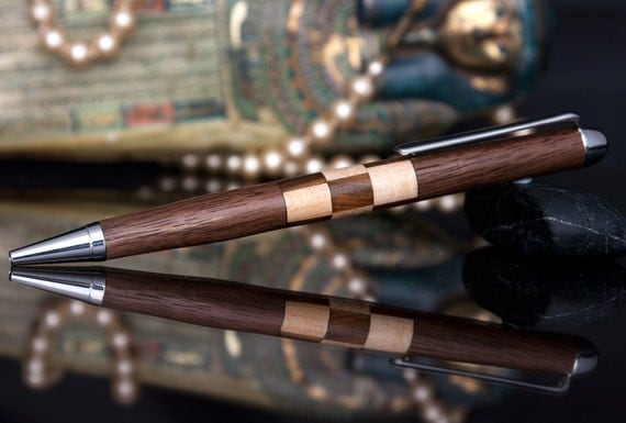Handturned Padauk Wood Pen with Walnut and Maple Inlay EURSLV047
