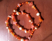 Coral and Clementine Bead Bracelets, stackable