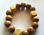 Khaki Wood Bead Bracelet