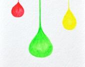 Original Modern Abstract Watercolor Painting Multicolor Drops Balls