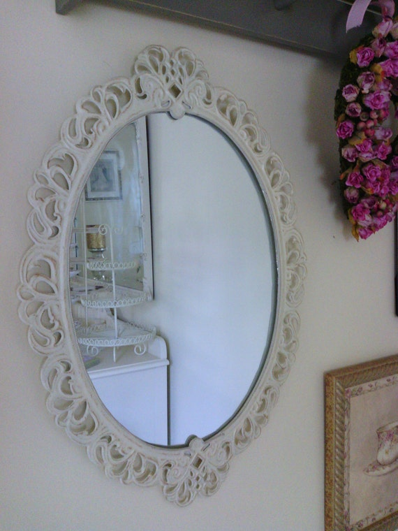 Cottage White Oval Shape Tin Mirror with Heart Cut Out