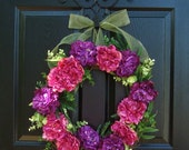 Purple and Raspberry Wreath, Summer Wreath, Door Decorations