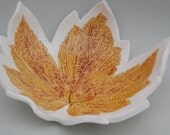 Reserved for Bethany, Large Fruit Bowl,  Wedding Gift, Autumn Leaf Fruit Bowl in Burnt Ochre
