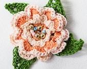 Peach colored Crocheted Irish Rose Brooch