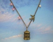 Dove Necklace with Flowers, Heart and Cage, 'Freedom of the Skies', Spring Necklace