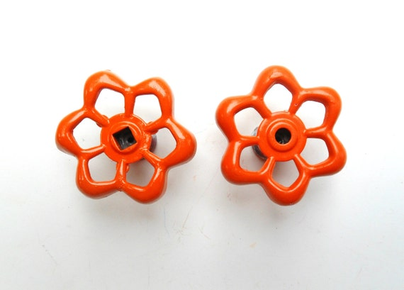faucet knobs / cabinet pulls / orange set of two