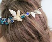 Blue Mermaid Macrame Headband with Shells