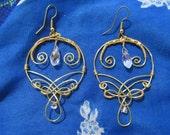 Glass Prism Gold Wire Hoop Earrings
