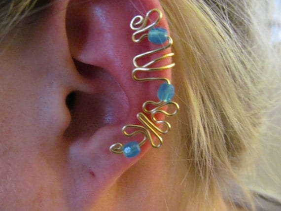 Blue Beaded Gold Wire Ear Cuff