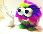 Happy the FUZZ HEAD - Hand Sewn, Fun Fur Monster with Vintage Potato Head Parts, Multi colored