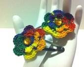 Rainbow Flower Clips: hair clippies, hand crochet, floral