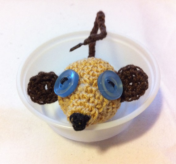 Hand Crochet Brown Baby Mouse: Vintage Blue Button Eyes