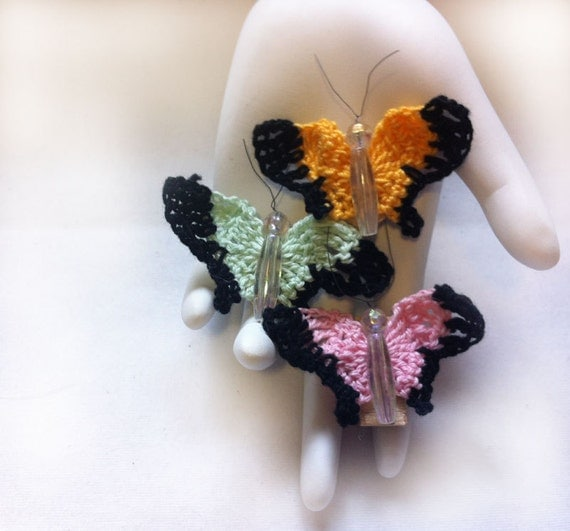 Hand Crochet Pastel Butterfly Magnet Set: Fridgie, cute, insect