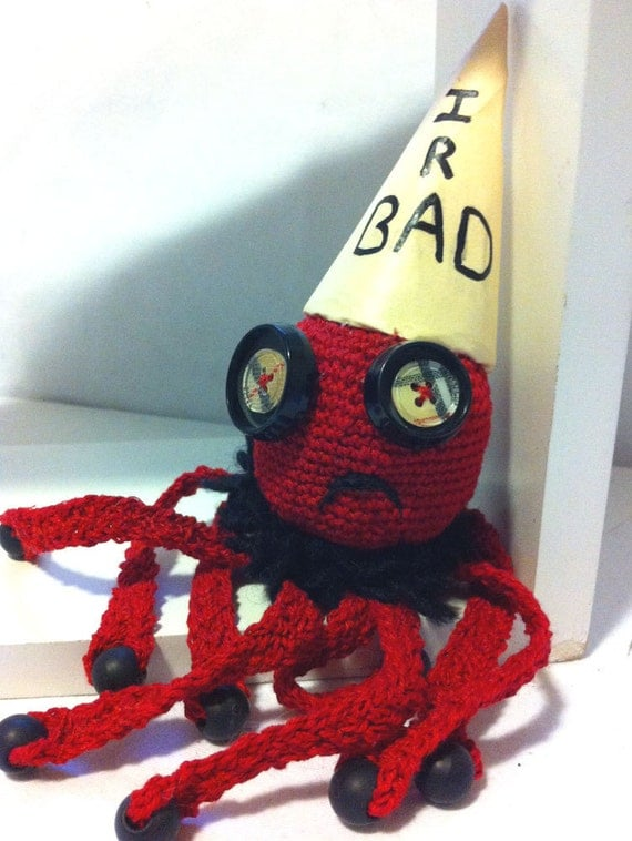 Hand Crochet Red Naughty Octopus: Vintage Plaid Button Eyes, bad, pout