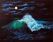 Midnite Waves - Ocean scene - Surf Decor - Original Oil painting  20x16 - Home Decor - by Deb Hanley - this is not a print