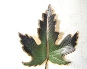 Vintage Single Leaf Enameled Brooch or Pin