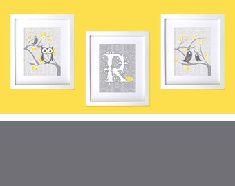 Grey Yellow Gray Nursery Prints Bird Themed Nursery Decor Girls Room Wall Prints Art Owl Tweet Damask Decor Boys Prints Custom Shower Gift