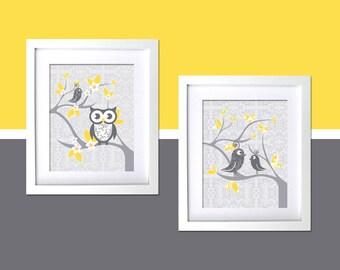 Gray Yellow Kids Wall decor Nursery Art modern room Whimsical Owl and Tweet, damask, Gray yellow, boys room Wall Art girls nursery Prints