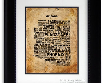Collage Print ARIZONA State Map Cities & Towns Unique Vintage Style Print birthday gift for him Housewarming family gift