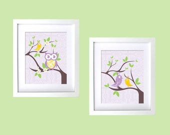 Bird Themed Girls nursery room Art Baby Room Art Wall Prints Decor Modern Nursery Purple Yellow Damask