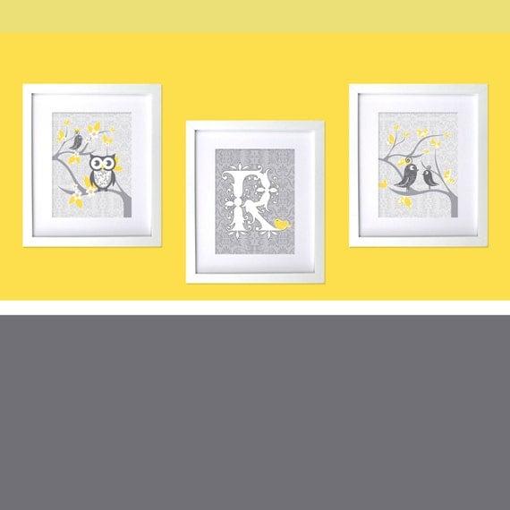 Grey Yellow Gray Nursery Prints Bird Themed Nursery Decor Girls Room Wall Prints Art Owl Tweet Damask Decor Boys Prints Custom Shower Gift