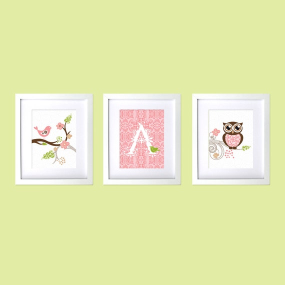 Etsy Personalized Wall Decor : Baby girl nursery wall decor custom print art