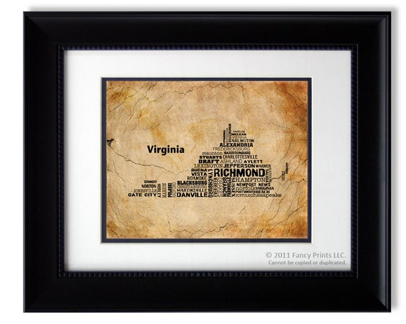 Christmas gift for him VIRGINIA Map Collage Print Unique Vintage Style Rustic Style Room Decor Wall Art Typography Birthday gift for him