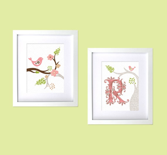 Bird Themed Baby Girls Nursery Room Art Personalized Baby Girl Nursery Prints Tweet Letter Name Monogram Pink Lime Green Wall Decor Print