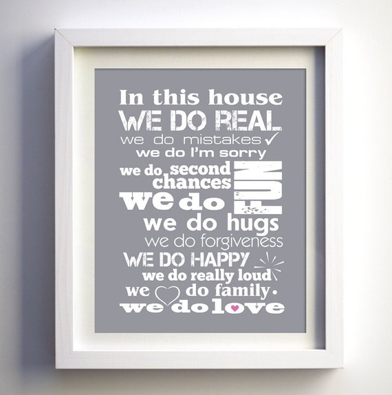 Family Gift In This House Family Home Rules Poster Family