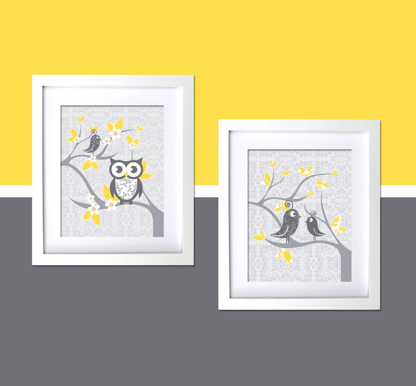 gray yellow kids wall decor nursery art modern room whimsical