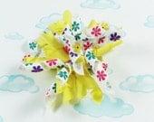 Yellow spring flower korker curly/pom pom hair bow
