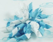 Korker Hair Bow Blue and white curly/pom pom hair bow