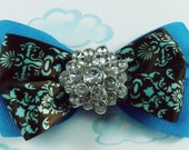 Hair bow one of a kind blue and brown jewel stacked hair bow.