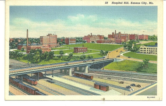 VINTAGE POSTCARD Kansas City Missouri 1940's Great Vintage Cars Trains Hospital Hill