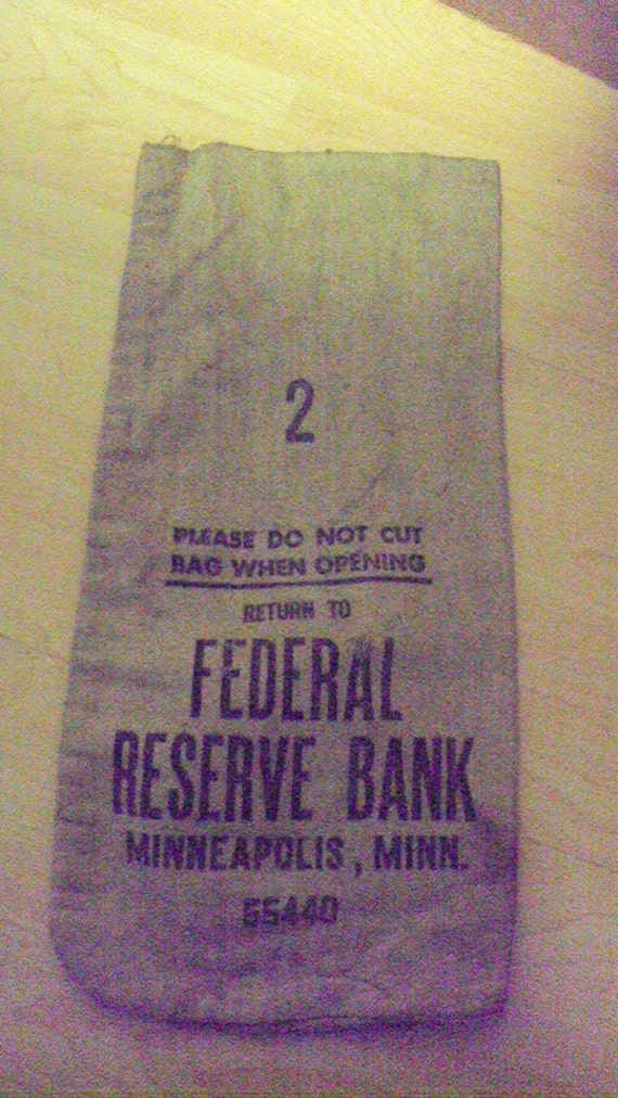 Vintage Canvas Bank Deposit Bag Federal Reserve Minneapolis Minnesota size 2